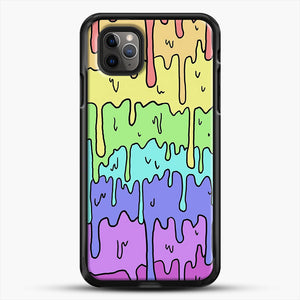 Pastel Kawaii Melting Rainbow iPhone 11 Pro Max Case, Black Rubber Case | JoeYellow.com