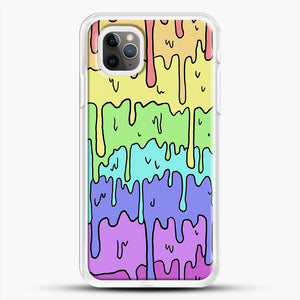 Pastel Kawaii Melting Rainbow iPhone 11 Pro Max Case, White Rubber Case | JoeYellow.com