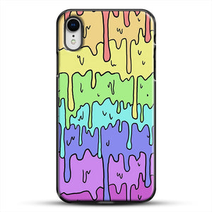 Pastel Kawaii Melting Rainbow iPhone XR Case, Black Plastic Case | JoeYellow.com