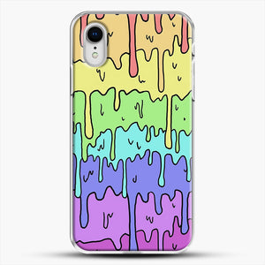 Pastel Kawaii Melting Rainbow iPhone XR Case, White Plastic Case | JoeYellow.com