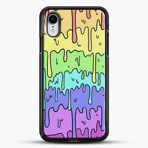 Pastel Kawaii Melting Rainbow iPhone XR Case, Black Rubber Case | JoeYellow.com
