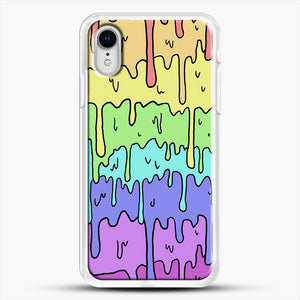 Pastel Kawaii Melting Rainbow iPhone XR Case, White Rubber Case | JoeYellow.com