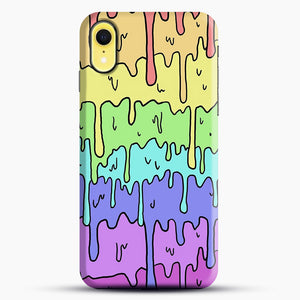 Pastel Kawaii Melting Rainbow iPhone XR Case, Black Snap 3D Case | JoeYellow.com