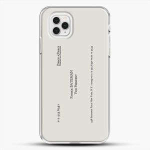 Patrick Bateman Business Card iPhone 11 Pro Case, White Plastic Case | JoeYellow.com