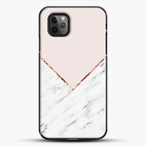 Peony Blush Geometric Marble iPhone 11 Pro Max Case, Black Plastic Case | JoeYellow.com