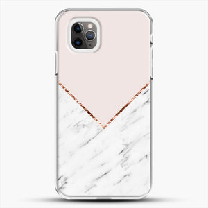 Peony Blush Geometric Marble iPhone 11 Pro Max Case, White Plastic Case | JoeYellow.com