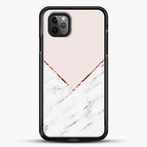 Peony Blush Geometric Marble iPhone 11 Pro Max Case, Black Rubber Case | JoeYellow.com