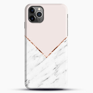 Peony Blush Geometric Marble iPhone 11 Pro Max Case, Black Snap 3D Case | JoeYellow.com