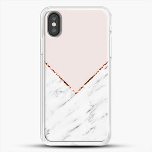 Peony Blush Geometric Marble iPhone X Case, White Rubber Case | JoeYellow.com