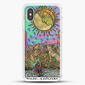 Psychadelic Tarot The Moon iPhone XS Case, White Rubber Case | JoeYellow.com