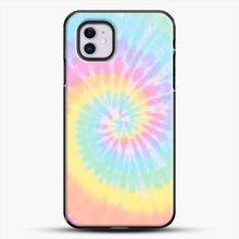 Load image into Gallery viewer, Rainbow Tie Dye iPhone 11 Case, Black Plastic Case | JoeYellow.com