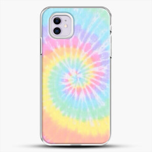 Rainbow Tie Dye iPhone 11 Case, White Plastic Case | JoeYellow.com