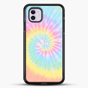 Rainbow Tie Dye iPhone 11 Case, Black Rubber Case | JoeYellow.com