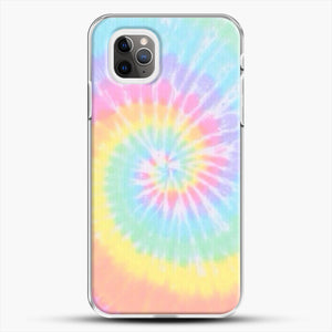 Rainbow Tie Dye iPhone 11 Pro Max Case, White Plastic Case | JoeYellow.com