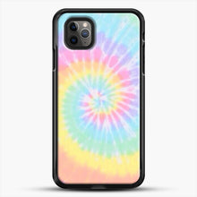 Load image into Gallery viewer, Rainbow Tie Dye iPhone 11 Pro Max Case, Black Rubber Case | JoeYellow.com