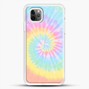 Rainbow Tie Dye iPhone 11 Pro Max Case, White Rubber Case | JoeYellow.com