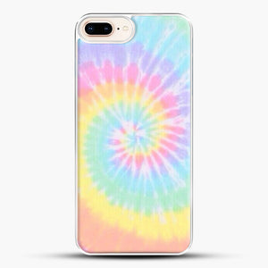Rainbow Tie Dye iPhone 8 Plus Case, White Plastic Case | JoeYellow.com