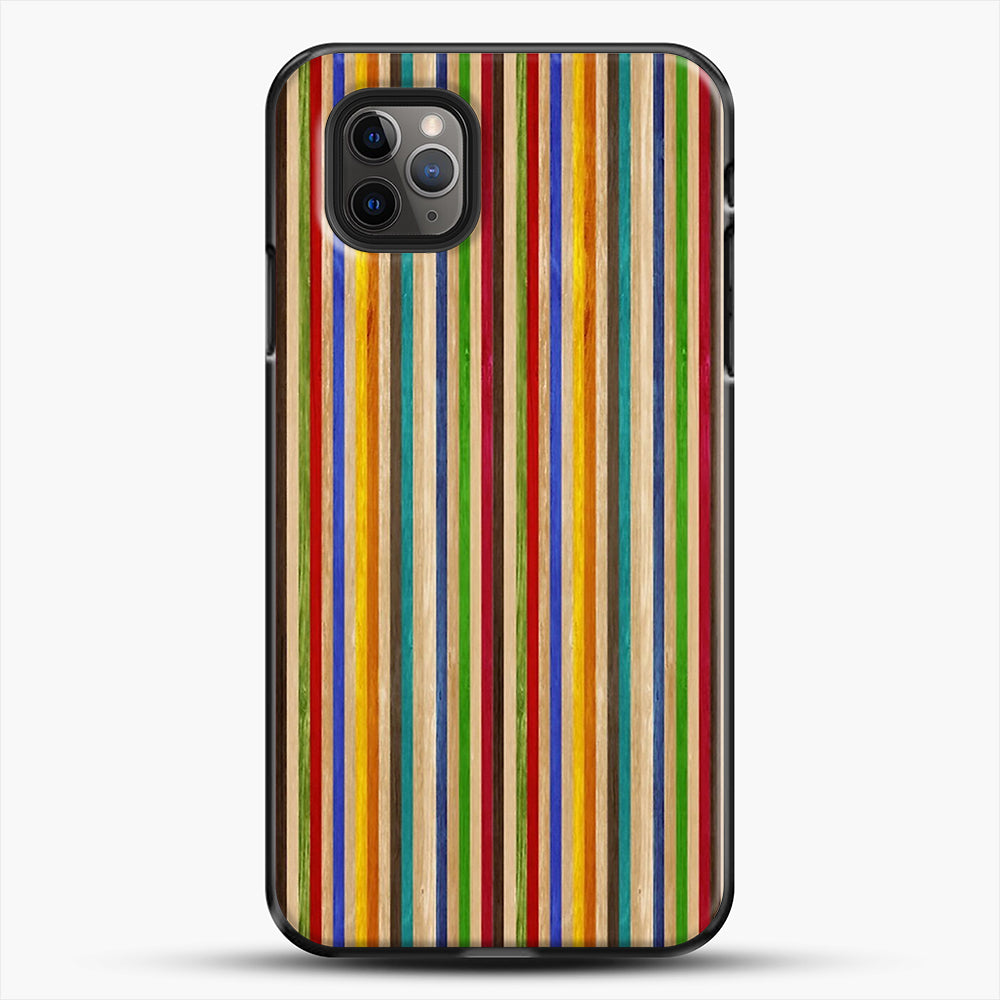 Recycled Skateboard Rainbow Texture iPhone 11 Pro Max Case, Black Plastic Case | JoeYellow.com