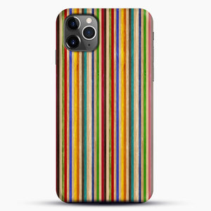 Recycled Skateboard Rainbow Texture iPhone 11 Pro Max Case, Black Snap 3D Case | JoeYellow.com