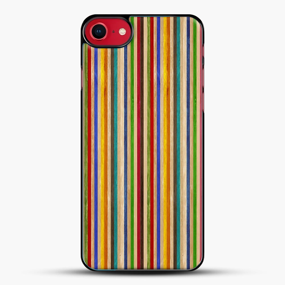 Recycled Skateboard Rainbow Texture iPhone 7 Case, Black Plastic Case | JoeYellow.com