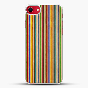 Recycled Skateboard Rainbow Texture iPhone 8 Case, White Plastic Case | JoeYellow.com