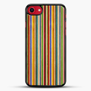 Recycled Skateboard Rainbow Texture iPhone 8 Case, Black Rubber Case | JoeYellow.com