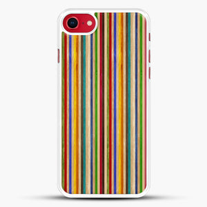 Recycled Skateboard Rainbow Texture iPhone 8 Case, White Rubber Case | JoeYellow.com