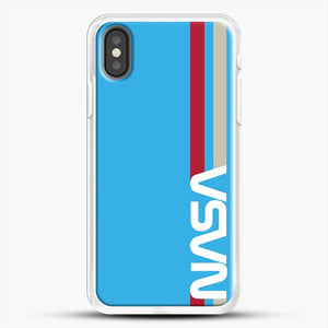 Retro Nasa iPhone X Case, White Rubber Case | JoeYellow.com