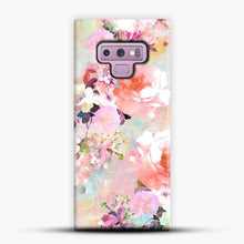 Load image into Gallery viewer, Romantic Pink Teal Watercolor Chic Floral Samsung Galaxy Note 9 Case