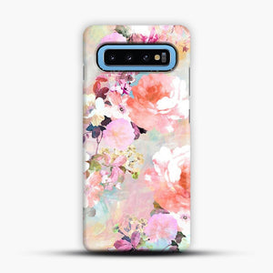 Romantic Pink Teal Watercolor Chic Floral Samsung Galaxy S10 Case