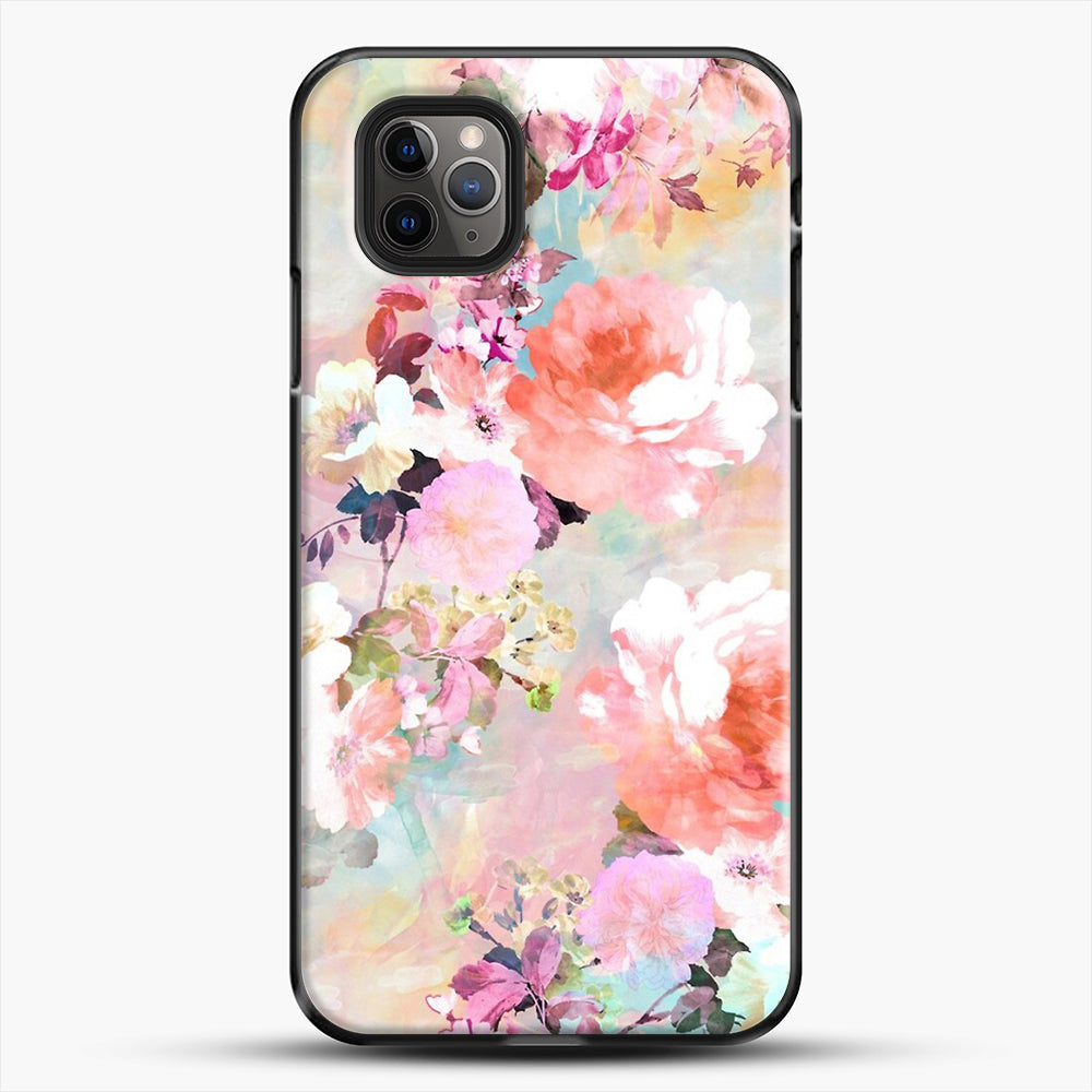Romantic Pink Teal Watercolor Chic Floral iPhone 11 Pro Max Case, Black Plastic Case | JoeYellow.com