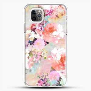 Romantic Pink Teal Watercolor Chic Floral iPhone 11 Pro Max Case, White Plastic Case | JoeYellow.com