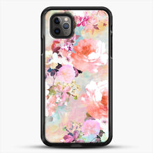 Load image into Gallery viewer, Romantic Pink Teal Watercolor Chic Floral iPhone 11 Pro Max Case, Black Rubber Case | JoeYellow.com