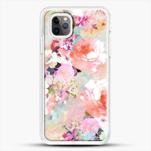 Load image into Gallery viewer, Romantic Pink Teal Watercolor Chic Floral iPhone 11 Pro Max Case, White Rubber Case | JoeYellow.com