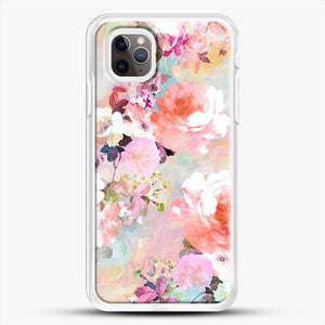 Romantic Pink Teal Watercolor Chic Floral iPhone 11 Pro Max Case, White Rubber Case | JoeYellow.com
