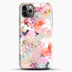 Romantic Pink Teal Watercolor Chic Floral iPhone 11 Pro Max Case, Black Snap 3D Case | JoeYellow.com