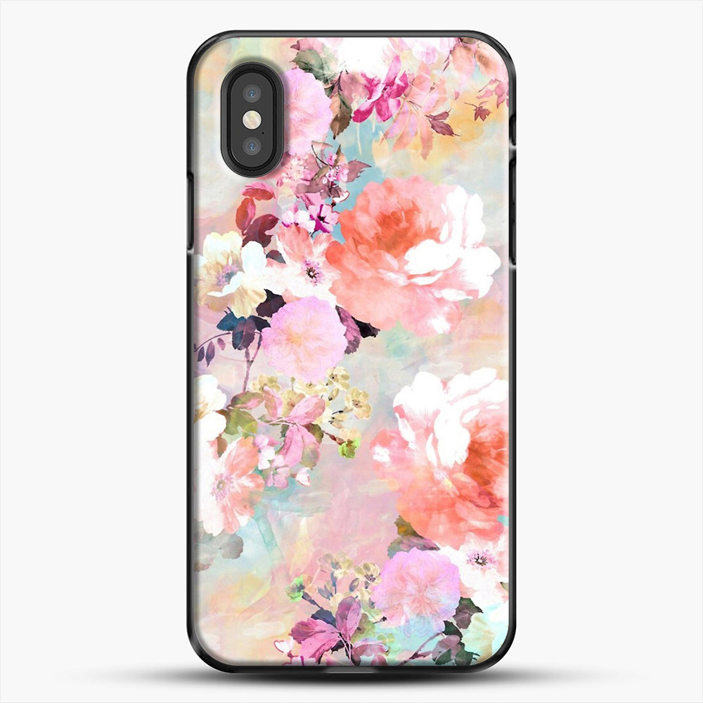 Romantic Pink Teal Watercolor Chic Floral iPhone XS Case, Black Plastic Case | JoeYellow.com