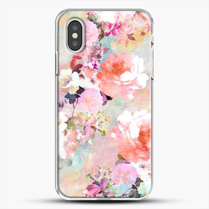Romantic Pink Teal Watercolor Chic Floral iPhone XS Case, White Plastic Case | JoeYellow.com