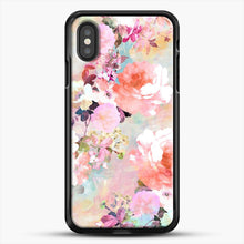 Load image into Gallery viewer, Romantic Pink Teal Watercolor Chic Floral iPhone XS Case, Black Rubber Case | JoeYellow.com