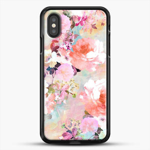 Romantic Pink Teal Watercolor Chic Floral iPhone XS Case, Black Rubber Case | JoeYellow.com