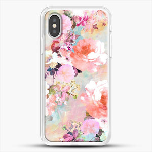 Romantic Pink Teal Watercolor Chic Floral iPhone XS Case, White Rubber Case | JoeYellow.com