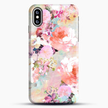 Load image into Gallery viewer, Romantic Pink Teal Watercolor Chic Floral iPhone XS Case, Black Snap 3D Case | JoeYellow.com