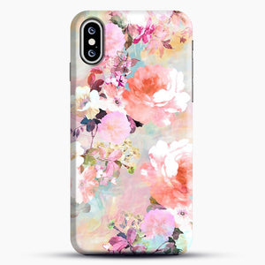 Romantic Pink Teal Watercolor Chic Floral iPhone XS Case, Black Snap 3D Case | JoeYellow.com
