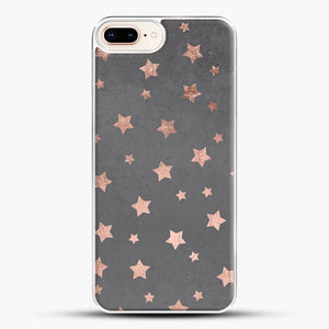 Rose Gold Christmas Stars Geometric Pattern Cement iPhone 8 Plus Case, White Plastic Case | JoeYellow.com