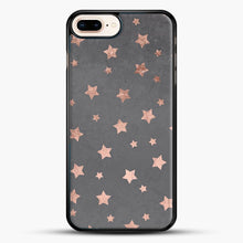 Load image into Gallery viewer, Rose Gold Christmas Stars Geometric Pattern Cement iPhone 8 Plus Case, Black Rubber Case | JoeYellow.com