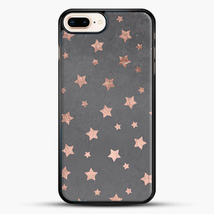 Rose Gold Christmas Stars Geometric Pattern Cement iPhone 8 Plus Case, Black Rubber Case | JoeYellow.com