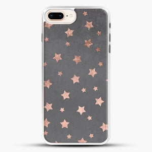 Rose Gold Christmas Stars Geometric Pattern Cement iPhone 8 Plus Case, White Rubber Case | JoeYellow.com
