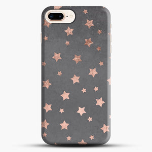 Rose Gold Christmas Stars Geometric Pattern Cement iPhone 8 Plus Case, Black Snap 3D Case | JoeYellow.com