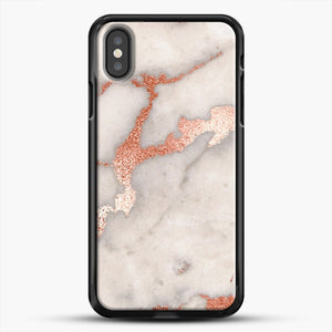 Rose Gold Marble iPhone Case, Black Rubber Case | JoeYellow.com