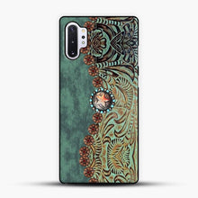 Load image into Gallery viewer, Rustic Brown Cowhide Teal Western Country Tooled Leather Cowboy Teel Green Samsung Galaxy Note 10 Plus Case, Black Plastic Case | JoeYellow.com